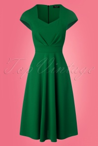 Ruby Short Sleeve Swing Dress Années 50 en Vert Émeraude