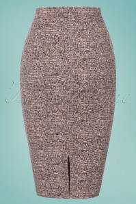 Vintage chic Pink Tweed Effect Botton Pencil Skirt 120 19 25115 20180124 0003w