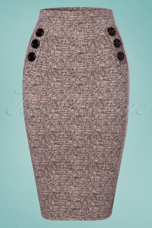 Vintage chic Pink Tweed Effect Botton Pencil Skirt 120 19 25115 20180124 0002w