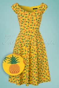 50s Pineapple Swing Dress in Yellow