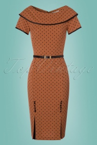 Tatyana Brown Polkadot Pencil Dress 100 79 24687 20180215 0003w