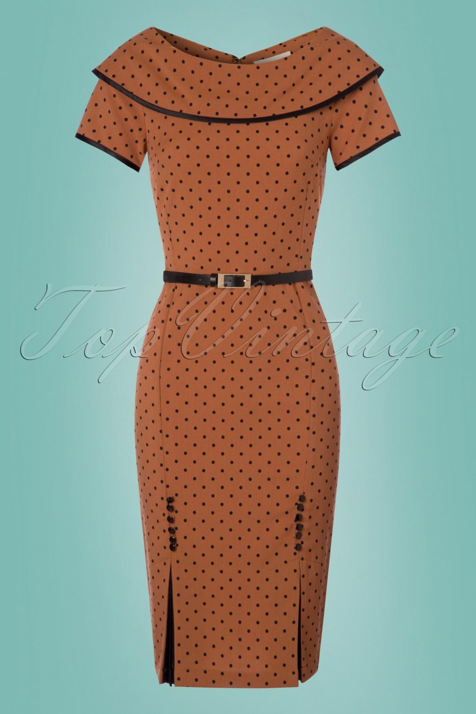 50s Ice Coffee Polkadot Pencil Dress in Almond