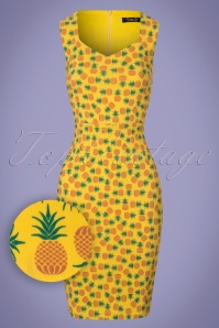 50s Pineapple Pencil Dress in Yellow