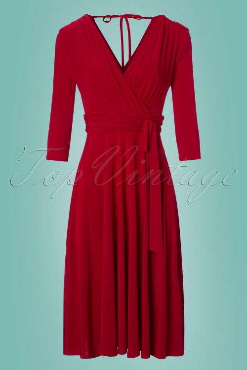 Vintage Chic 3 4 Sleeve Red Dress 102 20 24517 20180216 0002w
