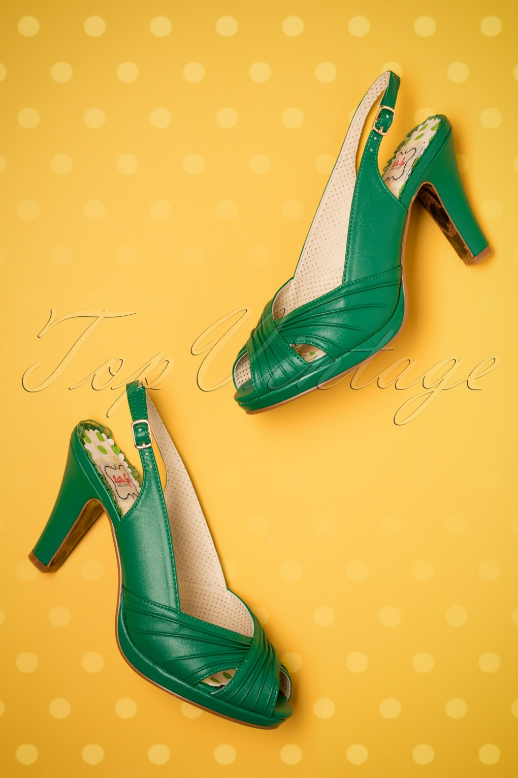 60s Shoes, Boots | 70s Shoes, Platforms, Boots 50s Selena Peeptoe Sandals in Green £75.51 AT vintagedancer.com