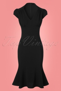 50s Pephem Pencil Dress in Black