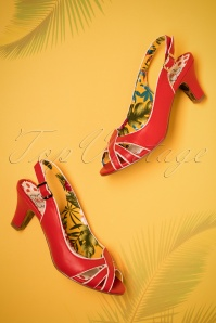 50s Cara Sandals in Red