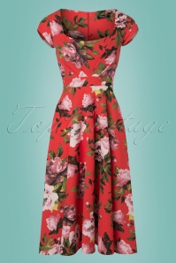 Vintage Chic Cap Sleeve Orange Floral Dress 102 27 24510 20180216 0002w