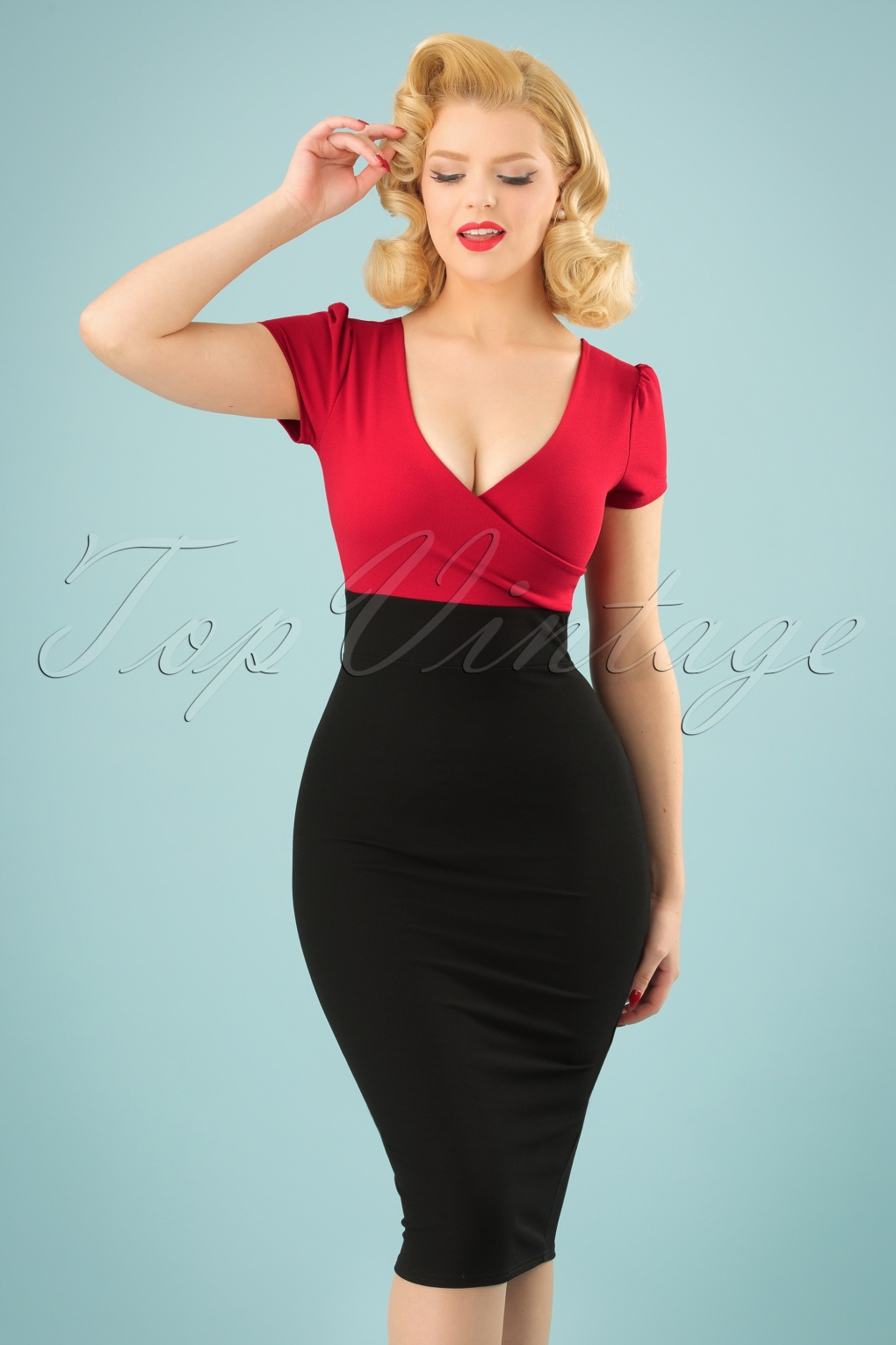 50s Kristy Pencil Dress In Black And Red