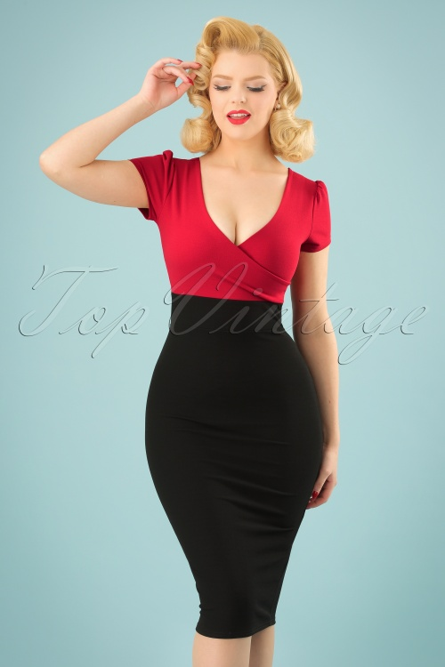 Vintage Chic Contrast Black and Red Pencil Dress 100 20 24508 20180216 0007w