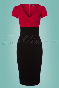 Vintage Chic Contrast Black and Red Pencil Dress 100 20 24508 20180216 0002w