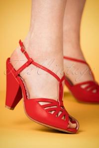 Bettie Page Aria Red T strap Sandals 401 20 23551 07022018 001W