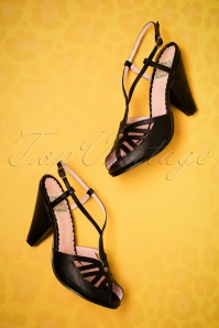 Bettie Page Aria Black T strap Sandals 401 10 23553 14022018 006bW