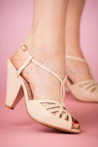 50s Aria T-Strap Pumps in Nude