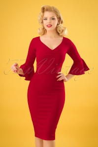 Vintage Chic Frill Sleeve Red Pencil Dress 100 20 24499 20180216 0010w