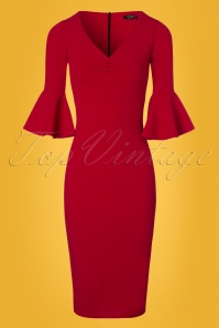 Vintage Chic Frill Sleeve Red Pencil Dress 100 20 24499 20180216 0002w