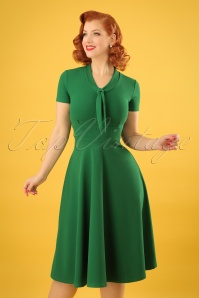 Vintage Chic Front Tie Emerald Dress 102 40 24500 20180216 0009w