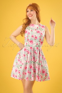 50s Natalie Roses Mini Dress in Mint