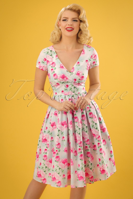 50s Natalie Floral Swing Dress In Mint