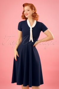 50s Lillie Swing Dress in Navy and Ivory