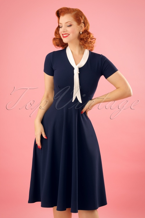 Vintage Chic Scuba Crepe Navy Cream Sailor Bow Dress 102 31 24501 20180216 0004w