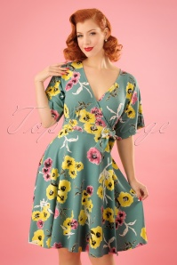 Vintage Chic Marcella Lemon Floral Print Bow Dress 102 49 24485 20180216 0007w