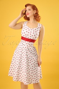 Cherry Swing Dress Années 50 en Blanc