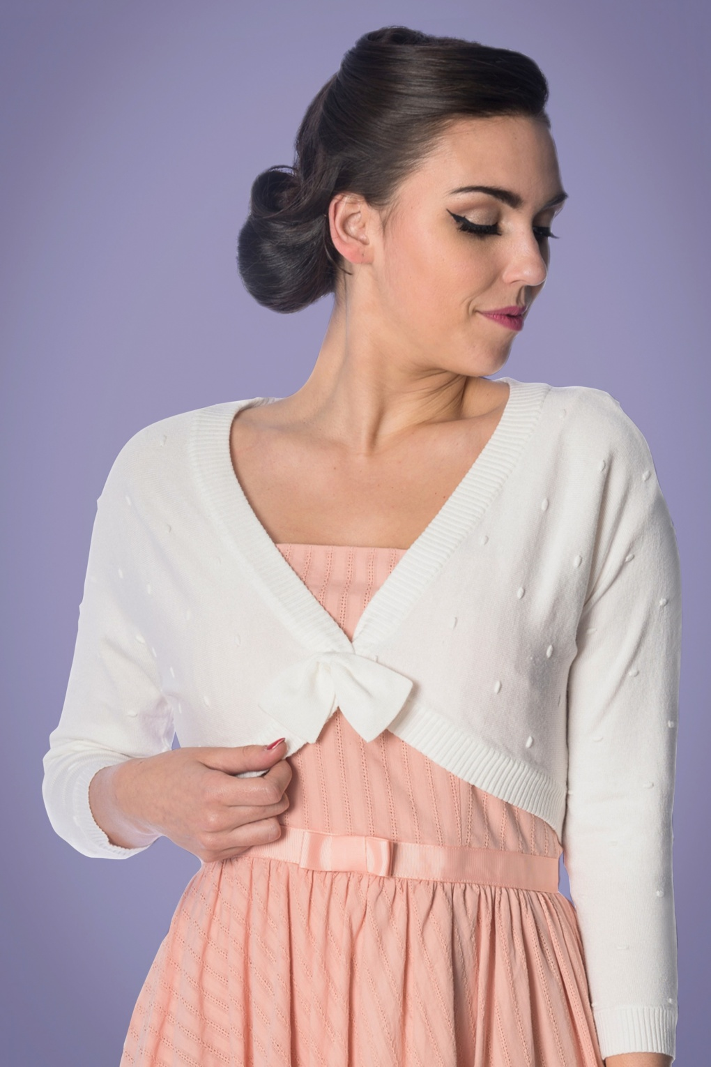 Vintage Sweaters: Cable Knit, Fair Isle Cardigans & Sweaters 50s Popcorn Bolero in Ivory White £33.68 AT vintagedancer.com