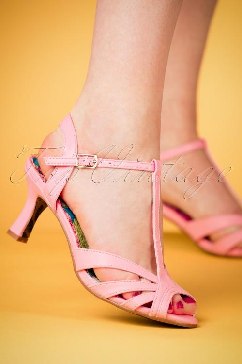 Bettie Page Shoes Layla T-Strap Sandals Années 50 en Vert