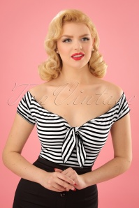 Bunny 50s Dolly Striped Top in Black and White