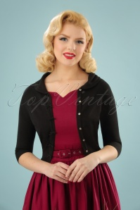 Banned Retro 40s April Bow Cardigan in Black