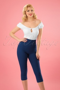 Bunny 50s Tina Capri Pants in Navy