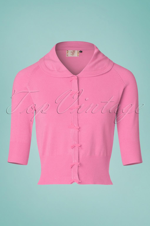 Vintage & Retro Shirts, Halter Tops, Blouses 40s April Bow Cardigan in Pink £33.73 AT vintagedancer.com