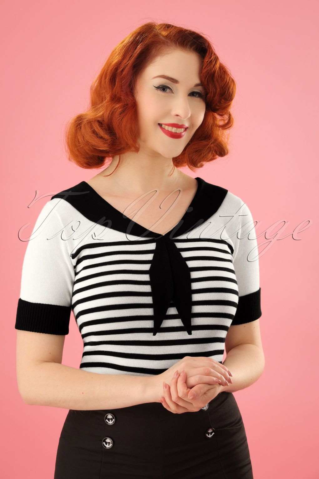 1940s Blouses and Tops 50s Coco Striped Top in Black and Ivory £26.25 AT vintagedancer.com
