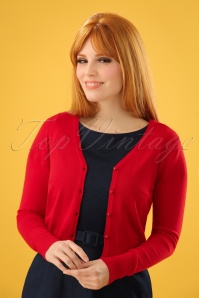 Hearts & Roses 50s Eva Cardigan in Lipstick Red