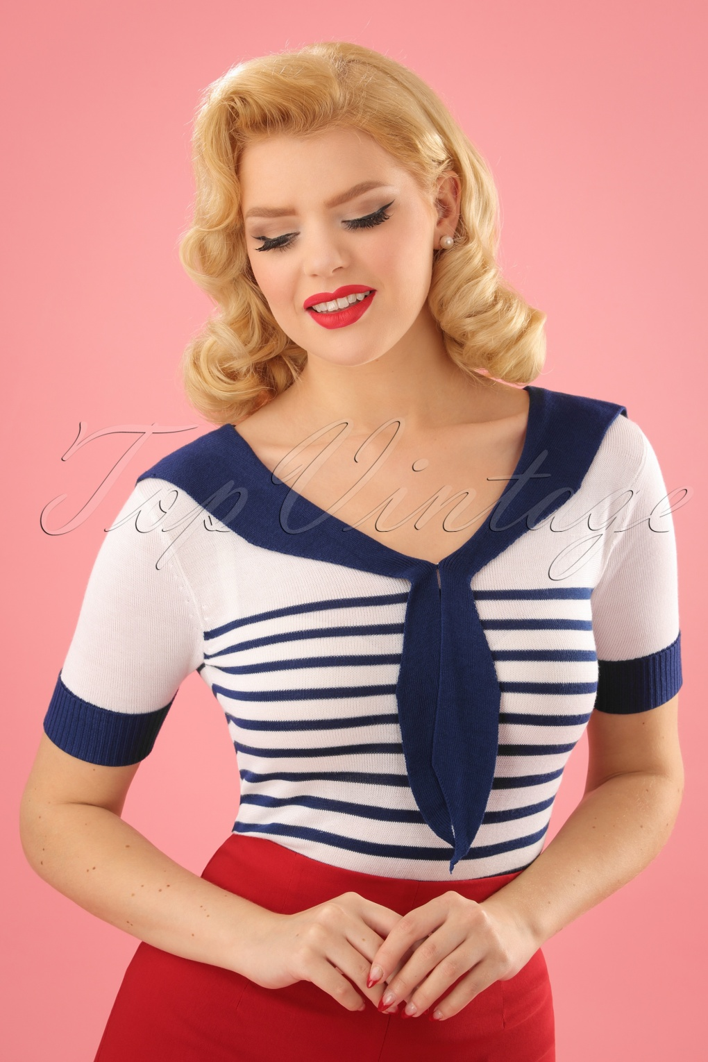 1930s Art Deco Plus Size Dresses | Tea Dresses, Party Dresses 50s Coco Sailor Top in Navy and Ivory £26.54 AT vintagedancer.com
