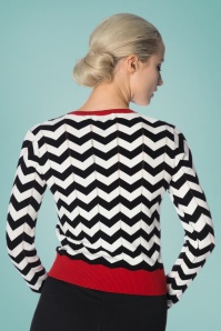Banned Chevron Carigan Black White Red 24296 02