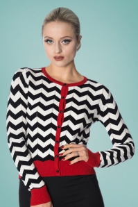 Banned Chevron Carigan Black White Red 24296 01