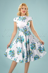 60s Doll Floral Swing Dress in White