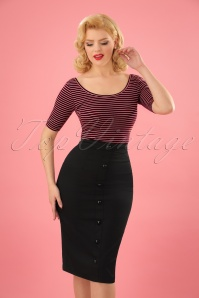 Collectif Clothing Bettina Pencil Skirt Années 50 en Noir
