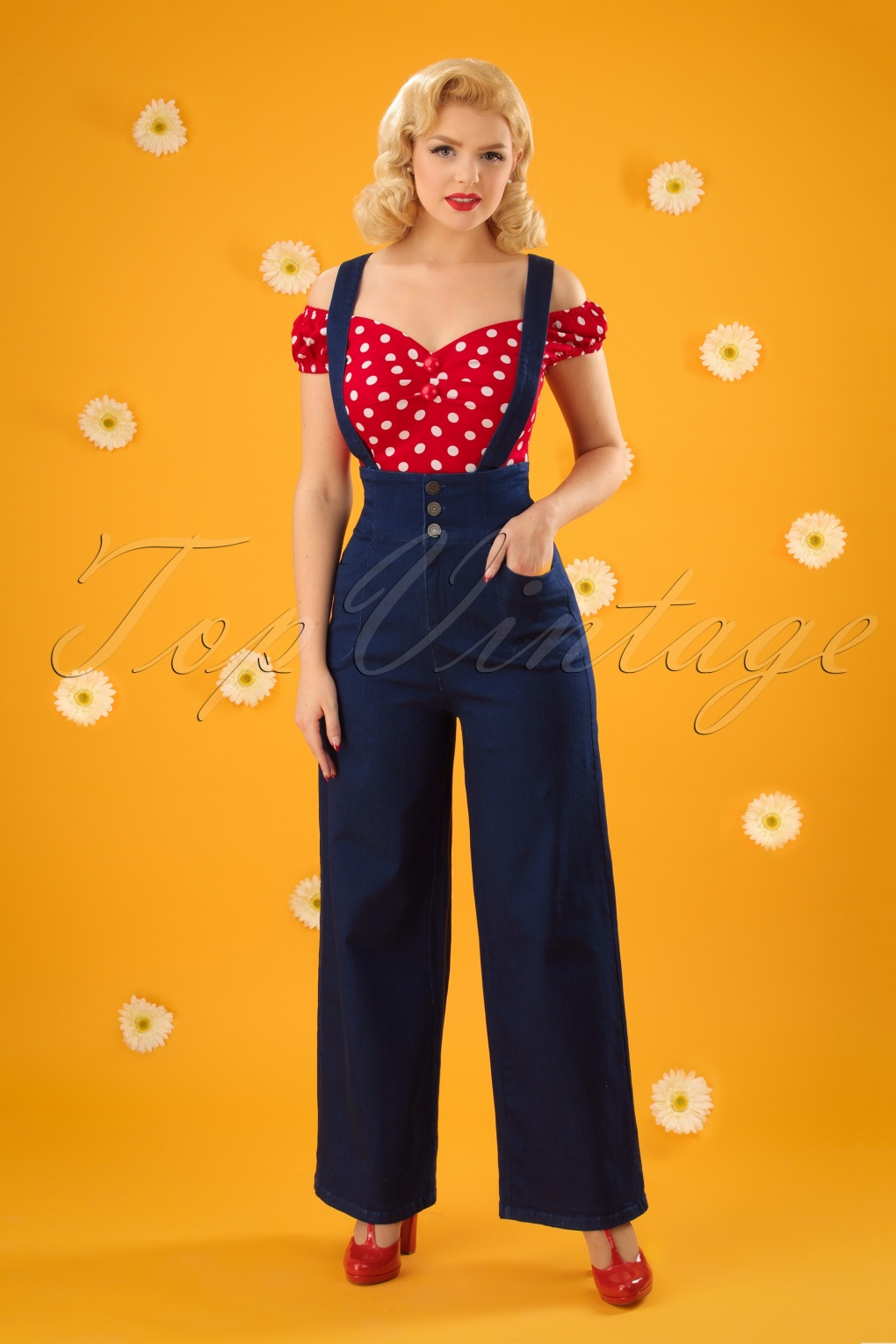 Vintage Overalls 1910s -1950s Pictures and History 40s Freya Jeans in Navy £55.15 AT vintagedancer.com