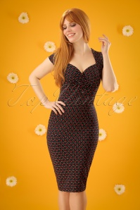 50s Perry Cha Cha Pencil Dress in Black
