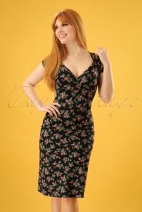 King Louie Gina Floral Dress in Black 100 14 23084 20180116 0002W (2)