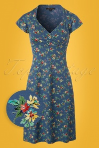 King Louie Gina Floral Dress in Blue 100 39 23085 20180116 0003W1