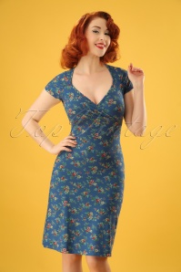 60s Gina Madelin Dress in Palace Blue