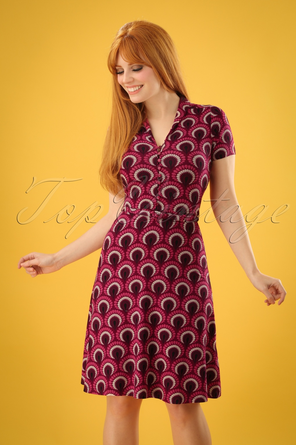 60s Plus Size Retro Dresses, Clothing, Costumes | 70s Dresses 60s Emmy Peacock Dress in Beaujolais Red £88.21 AT vintagedancer.com