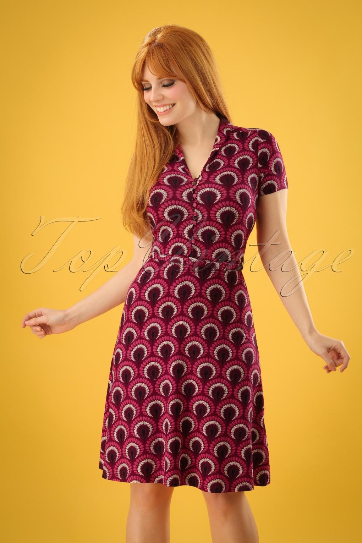 Plus Size Swing Dresses, Vintage Dresses 60s Emmy Peacock Dress in Beaujolais Red £53.16 AT vintagedancer.com