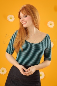 60s Ballerina Slim Shady Top in Waterfall Green