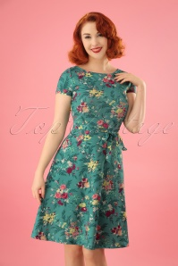 60s Betty Woodrose Swing Dress in Emerald Blue