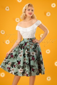 50s Tahiti Floral Swing Skirt in Mint Green